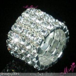 תכשיט ערב: טבעת מוכסף בשיבוץ קריסטלים 5 שורות