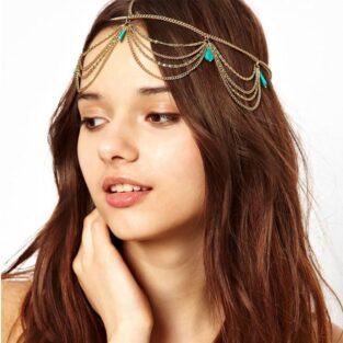 תכשיט לחינה: עיטור לשיער מוזהב בשיבוץ טורכיז המשמש נגד עין הרע