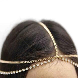 תכשיט שיער לערב לחינה ומסיבת רווקות מוזהב בשיבוץ קריסטלים