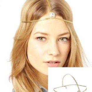 לחינה ומסיבת רווקות תכשיט שיער מוזהב בשיבוץ קריסטל מרכזי