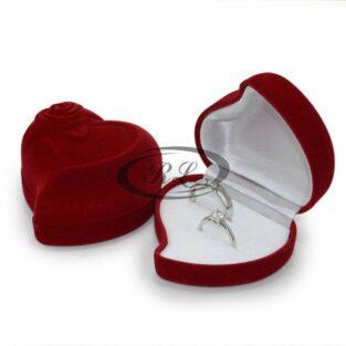 קופסת תכשיטים עיצוב לב ארגמן קטיפה