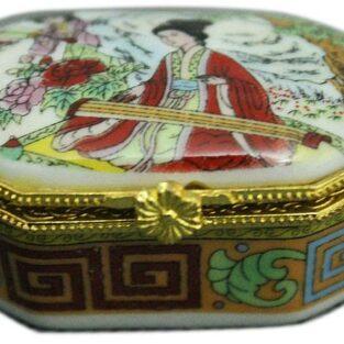 קופסת תכשיטים פורצלן מלבן איורים סיניים