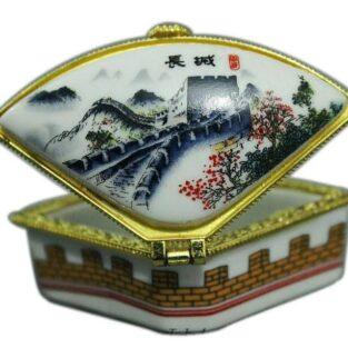 קופסת תכשיטים פורצלן מעוגל איורים סיניים
