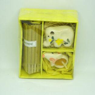 קופסת מתנה: כלי קרמיקה לקטורת ונר