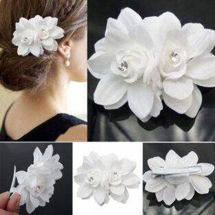 לכלה או לערב: סיכת קישוט לשיער עיצוב פרחים בשיבוץ קריסטלים