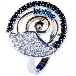 לכלה ולערב: טבעת כסף 925 בשיבוץ יהלומי גלם 0.93 קרט וזירקונים כחול שחור מידה: 7.5
