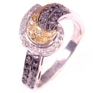 לכלה ולערב: טבעת כסף 925 בשיבוץ יהלומי גלם לבן וזהוב 0.83 קרט מידה: 7.25