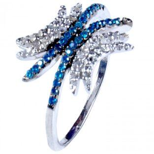לכלה ולערב: טבעת כסף 925 בשיבוץ יהלומי גלם 1.46 קרט וזירקונים כחול מידה: 7