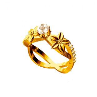 לכלה ולערב: טבעת כסף 925 בציפוי זהב בשיבוץ יהלומי גלם 0.72 קרט מידה: 7