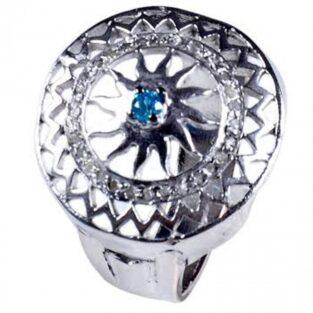 לכלה ולערב: טבעת כסף 925 בשיבוץ יהלומי גלם 0.73 קרט וזירקון כחול מידה: 7.5