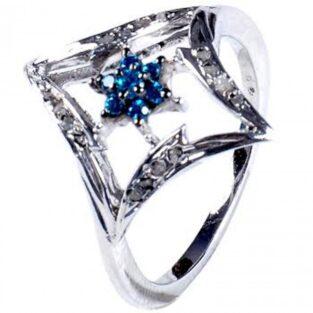 לכלה ולערב: טבעת כסף 925 בשיבוץ יהלומי גלם 0.46 קרט וזירקון כחול מידה: 7