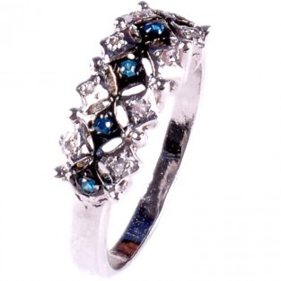 לכלה ולערב: טבעת כסף 925 בשיבוץ יהלומי גלם 0.25 קרט וזירקונים כחול מידה: 7.5