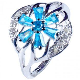 לכלה ולערב: טבעת כסף 925 בשיבוץ יהלומי גלם 0.37 קרט וזירקונים כחול מידה: 7