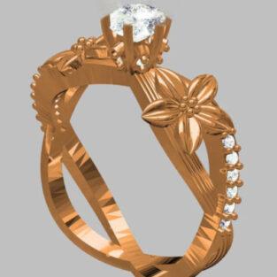 לכלה ולערב: טבעת כסף 925 בציפוי זהב אדום בשיבוץ יהלומי גלם 0.70 קרט מידה: 7