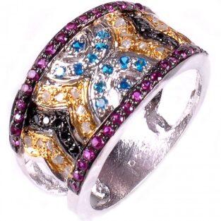 לכלה ולערב: טבעת כסף 925 בשיבוץ יהלומי גלם זהובים 1.56 קרט וזירקונים כחול שחור וסגול מידה: 7.5