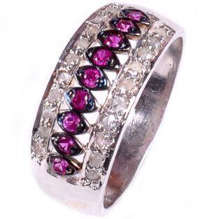 לכלה ולערב: טבעת כסף 925 בשיבוץ יהלומי גלם 0.58 קרט וזירקונים סגול מידה: 7