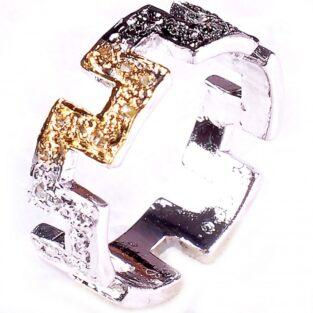לכלה ולערב: טבעת כסף 925 בשיבוץ יהלומי גלם לבנים וזהובים 0.48 קרט מידה: 7.5