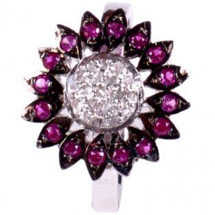 לכלה ולערב: טבעת כסף 925 בשיבוץ יהלומי גלם : 0.68 קרט זירקונים סגול מידה: 7