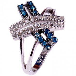 לכלה ולערב: טבעת כסף 925 בשיבוץ יהלומי גלם 0.62 קרט וזירקונים כחול מידה: 7