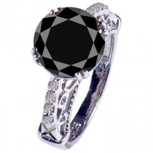לכלה ולערב: טבעת כסף 925 בשיבוץ יהלומי גלם ומואסניט הטבעת : 4.30 קרט מידה: 7