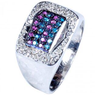 לכלה ולערב: טבעת כסף 925 בשיבוץ יהלומי גלם 1.30 קרט וזירקונים כחול סגול מידה:9
