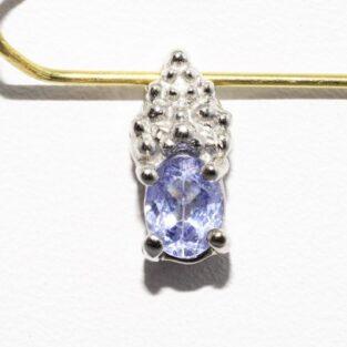 תכשיט זהב לכלה: תליון זהב לבן 10 קרט בשיבוץ טנזנייט כחול סגול