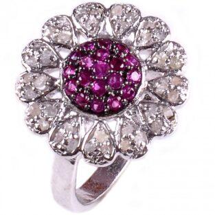 לכלה ולערב: טבעת כסף 925 בשיבוץ יהלומי גלם 1.16 קרט וזירקונים סגול