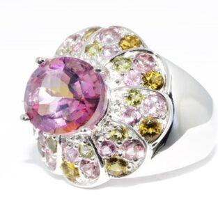 תכשיט לכלה ולערב: טבעת כסף 925 בשיבוץ טופז ורוד ריינבו וטורמלין צבעוני