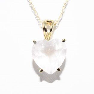 תכשיט זהב לכלה: שרשרת ותליון זהב בשיבוץ רוז קוורץ לב