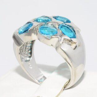 תכשיט לכלה ולערב: טבעת כסף בשיבוץ 5 אבני טורמלין תכלת מידה: 8.25