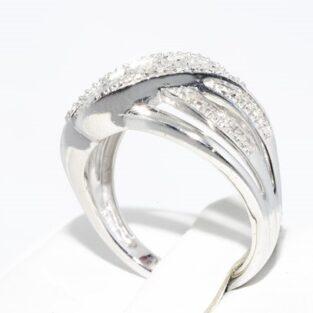 תכשיט לכלה ולערב: טבעת כסף בשיבוץ 3 יהלומים מידה: 7