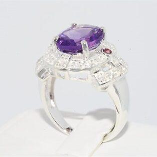 תכשיט לכלה ולערב: טבעת כסף בשיבוץ אמטיסט טופז לבן וטורמלין ורוד מידה: 10