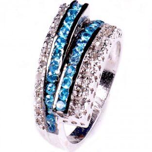 תכשיט לכלה ולערב: טבעת כסף בשיבוץ יהלומי גלם וזירקונים כחול מידה: 7.5