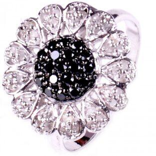 תכשיט לכלה ולערב: טבעת כסף 925 בשיבוץ יהלומי גלם לבן ושחור מידה: 7
