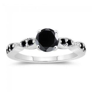 תכשיט ערב: טבעת כסף בשיבוץ מואסנייט שחור מידה: 7