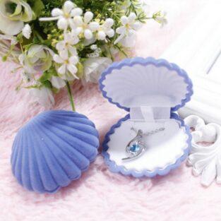 קופסת תכשיטים מהודרת עיצוב צדף סגול לטבעת או עגילים
