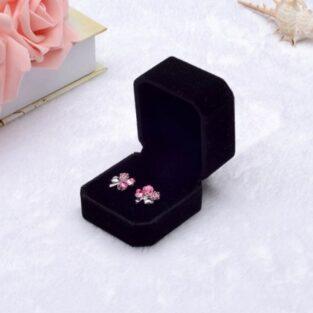 קופסת תכשיטים מהודרת לטבעת או עגילים מלבן קטיפה שחור