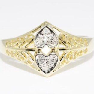 תכשיט זהב לכלה: טבעת בשיבוץ 6 יהלומים לבנים מידה: 6.5