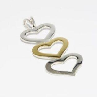 תכשיט זהב לכלה: תליון יוקרה כסף וזהב 18 קרט עיצוב 3 לבבות