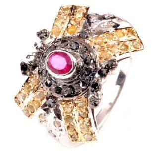 תכשיט לכלה ולערב: טבעת כסף בשיבוץ יהלומי גלם לבן אפור וזהוב מידה: 7.5