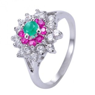 תכשיט לכלה ולערב: טבעת כסף בשיבוץ רובי, אמרלד וטופז לבן מידה: 7