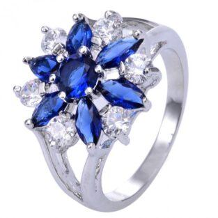 תכשיט לכלה ולערב: טבעת כסף 925 בשיבוץ ספיר כחול וטופז לבן מידה: 8