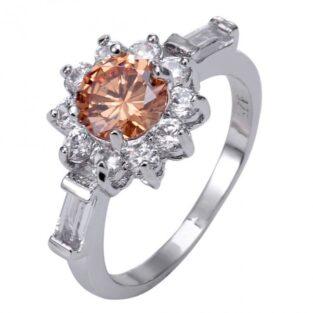 תכשיט לכלה ולערב: טבעת כסף בשיבוץ טופז כתום ולבן מידה: 9