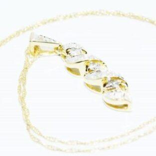 תכשיט זהב לכלה: שרשרת ותליון זהב 14 קרט בשיבוץ יהלומים