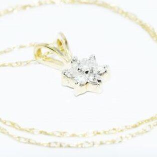 תכשיט לכלה ולערב: שרשרת ותליון זהב צהוב בשיבוץ 7 יהלומים