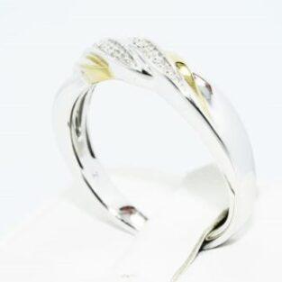 תכשיט לכלה ולערב: טבעת כסף בשיבוץ יהלומים לבנים 11. קרט מידה: 10.75