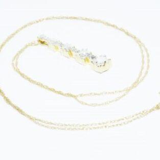 תכשיט לכלה ולערב: שרשרת ותליון זהב צהוב 10 קרט בשיבוץ יהלומים