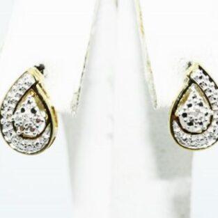 תכשיט לכלה ולערב: עגילי כסף בציפוי זהב בשיבוץ יהלומים לבנים 02. קרט עיצוב טיפה
