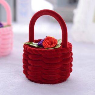 מתנה קופסת אריזה מהודרת לטבעת או לעגילים עיצוב סלסלה צבע אדום