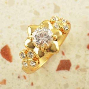 טבעת לחינה ומסיבת רווקות גולדפילד עיצוב פרח משובצת קריסטלים
